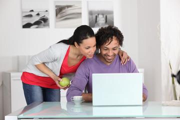 couple having fun on Internet