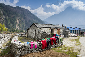 View of local house in central Himalayan mountains