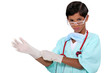 Little boy dressed as surgeon