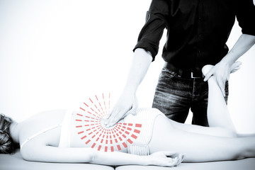 Massage therapist giving a massage. female receiving professiona