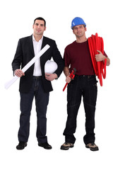 Architect with a plumber