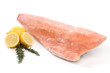 Frozen salmon fish fillet isolated on white