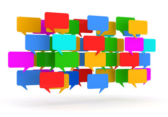 Colorful Speech Bubbles on white background