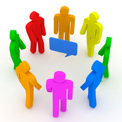 3d Illustration of Colorful People on white background