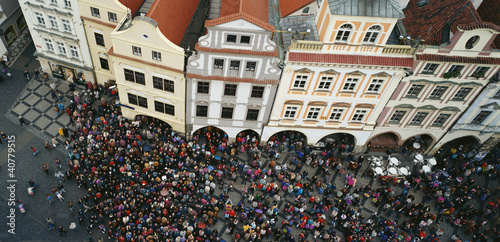 Aerial view of crowd in town square