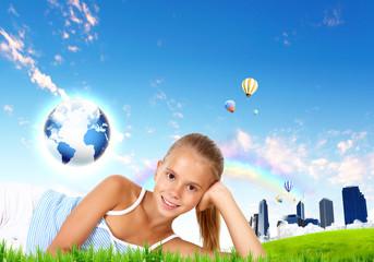 Girl against green natural landscape