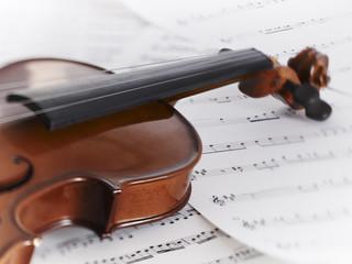 Close up of violin and sheet music
