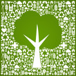 Green tree shape over eco icons background
