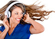 Fun woman listening to music