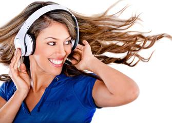 Fun woman listening to music