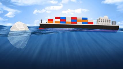 Cargo Tanker Ship Sailing Across the Ocean