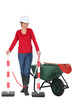 Woman worker with a wheelbarrow and barrier