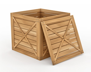 Opened Wooden Box Container on white background