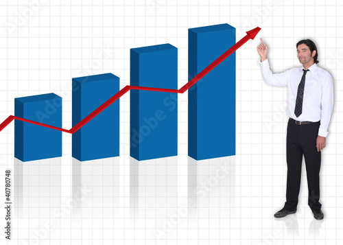 executive pointing at bar graph