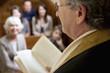 Close up of rabbi reading from Torah