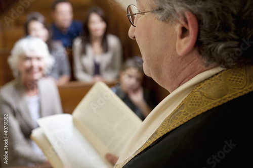 Close up of rabbi reading from Torah