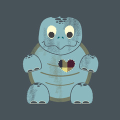 Letterpress Valentine's Day Turtle