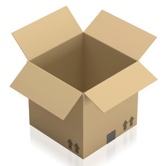Empty opened cardboard box on white background