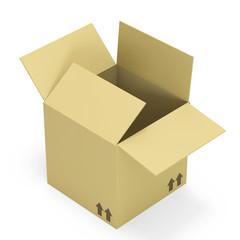 Empty opened cardboard box isolated on white background