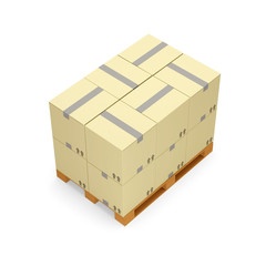 Cardboard Boxes on Wooden Palette over white background