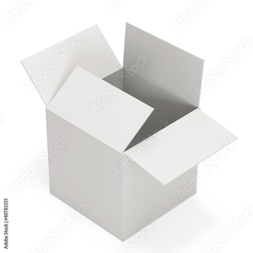 Empty opened box isolated on white background