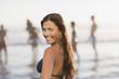 Woman wearing bikini on beach