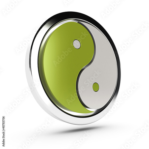 yin yang symbol over white, 3d
