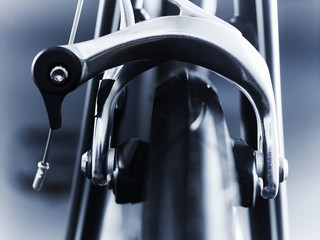 Close up of bicycle brake