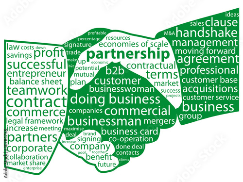 PARTNERSHIP Tag Cloud (handshake contract business signature)