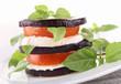 aubergine with mozzarella and tomato