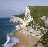 White cliffs overlooking beach
