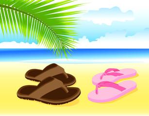 Отдых у моря. Каникулы на пляже. Курортный роман. Вектор.