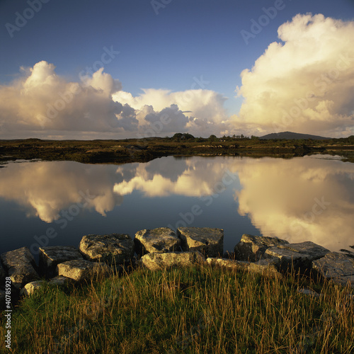 Clouds reflected in still lake
