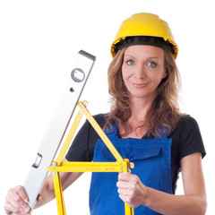 Frau mit Meterstab - woman with measuring meter
