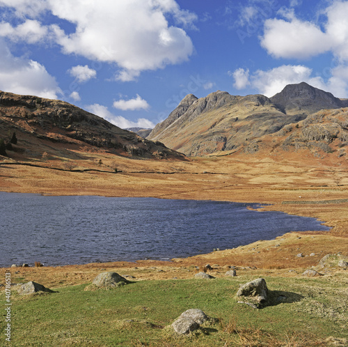 Lake and rocky mountains in rural landscape