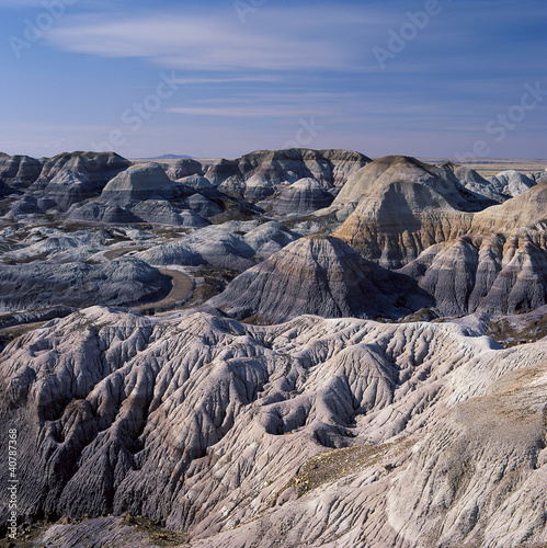 Rock formations in rural landscape