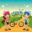 Park with young bikers. Cartoon vector scene.