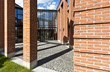 modern bricks house,  patio with columns