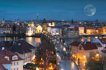 Night panorama of Prague, Czech Republic..