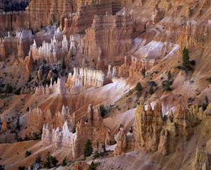 Rock formations on desert hillside