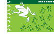 vector background with frog silhouettes isolated on green