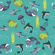 Vector seamless background with sea animals