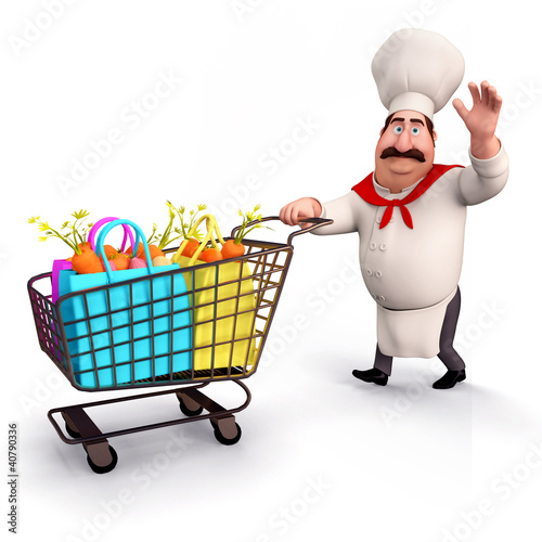 Chef with vegetables trolley