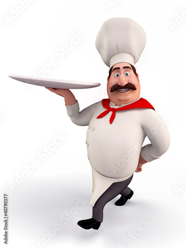 Happy chef holding noodles plate