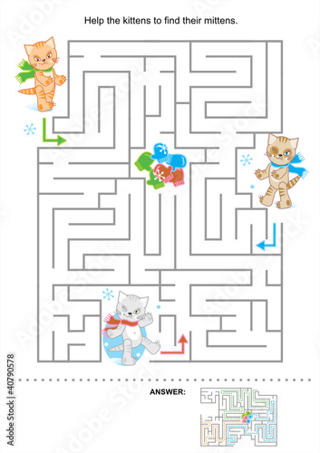Help the kittens to find their mittens (maze for kids)