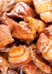 close-up shot of Filipino style pork adobo