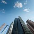 modern skyscrapers against a blue sky