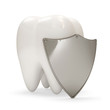 Teeth with metal shield on white background