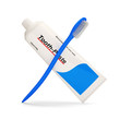 Tooth Paste Tube with Toothbrush on white background