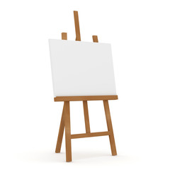 Wooden Easel on white background